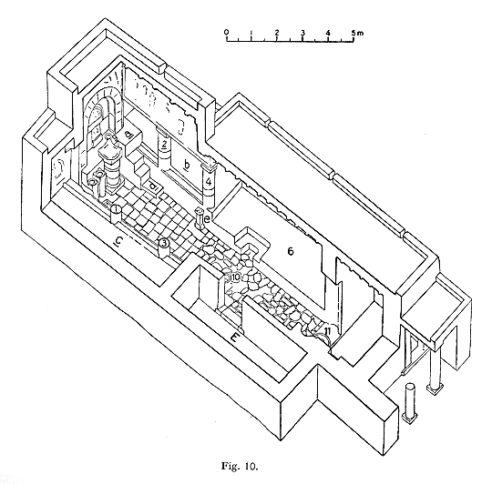 Plan of the first rebuilding of the Mithraeum at Dura-Europos, about 210 A.D.